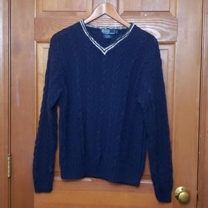 Polo by Ralph Lauren Navy Blue V-Neck Knit Sweater